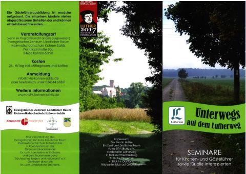 Flyer:  Unterwegs auf dem Lutherweg - Seminare für Kirchen- und Gästeführer sowie für alle Interessierten
