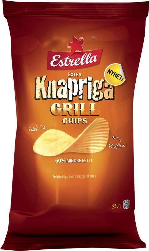 Nyhet! Estrella Extra Knapriga Grill Chips, 50% mindre fett
