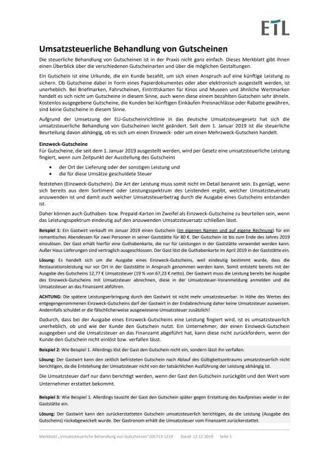 Merkblatt Umsatzsteuerliche Behandlung von Gutscheinen