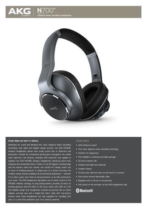 AKG N700NC Wireless_Spec sheet