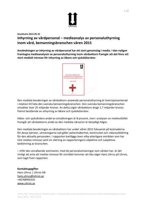 Inhyrning av vårdpersonal – medieanalys av personaluthyrning inom vård, bemanningsbranschen våren 2015