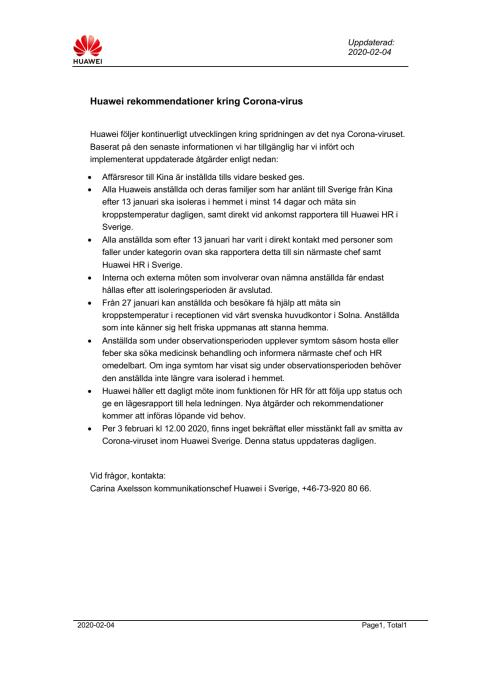 Huawei rekommendationer och rutiner kring Corona-virus, 2020-02-04