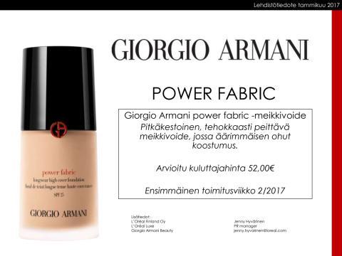 Giorgio Armani Power Fabric-meikkivoide lehdistötiedote 012017