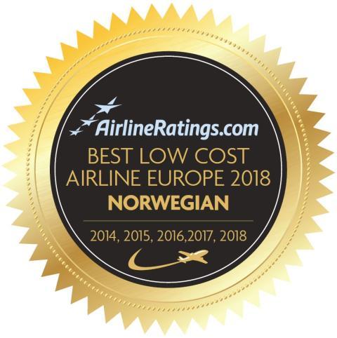 Norwegian kåret til Europas beste lavprisselskap femte år på rad av AirlineRatings.com