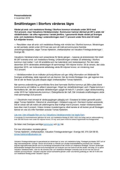 Värdebarometern 2015 Storfors kommun