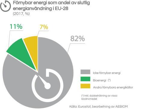Förnybar energi som andel av slutlig energianvändning i EU-28  (2017, %)