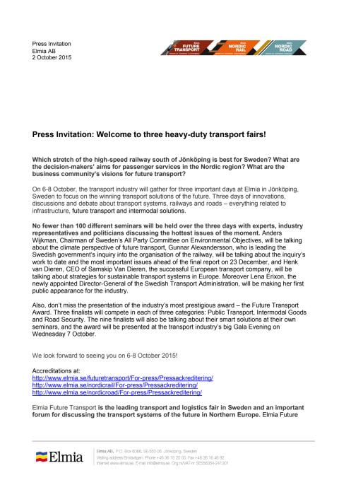 Elmia Future Transport, Press Invitation, english version