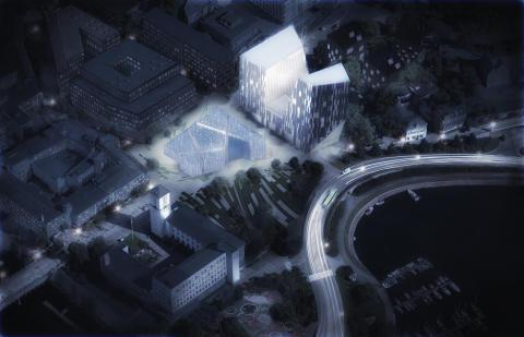 Finstadkvartal med forslag til hvordan et nytt bibliotek kan se ut. Illustrasjonen viser også gatebelegning som skaper visuell sammenheng i den nye sentrumsbebyggelsen på Sandvika øst. Rådhus i forgrunn. Ill.: MAD arkitekter