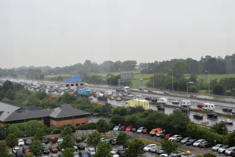 Summer traffic in heavy rain on the M5/M4 interchange near Bristol