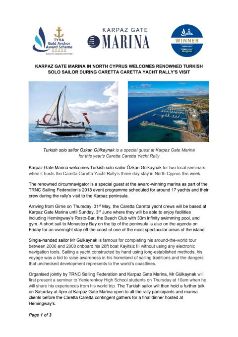 Karpaz Gate Marina in North Cyprus Welcomes Renowned Turkish Solo Sailor during Caretta Caretta Yacht Rally's Visit