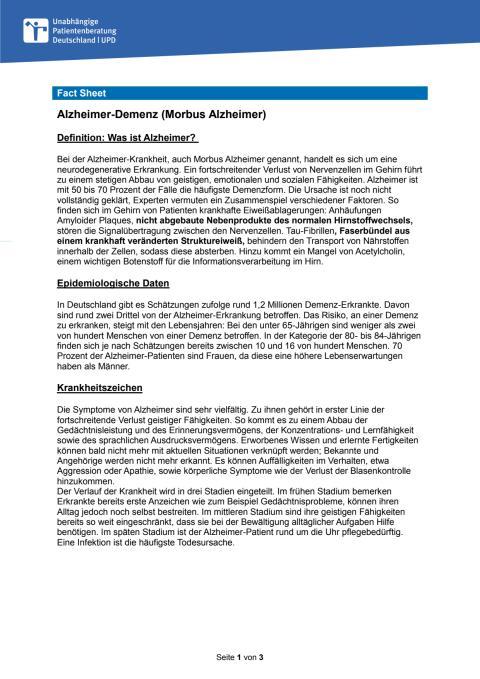 Fact Sheet Alzheimer