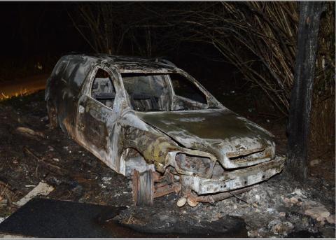 Burnt Vauxhall van