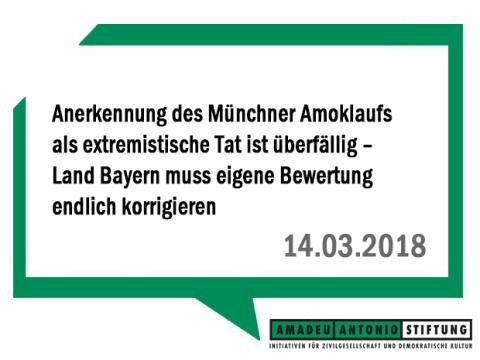 Anerkennung des Münchner Amoklaufs als extremistische Tat ist überfällig – Land Bayern muss eigene Bewertung endlich korrigieren