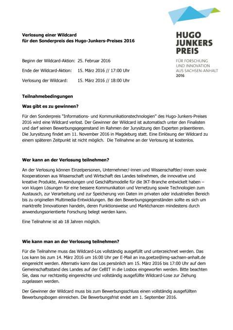 Teilnahmebedingungen Wildcard-Verlosung HJP 2016