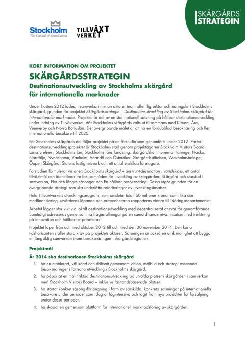Skärgårdsstrategin - kort om destinationsutvecklingen