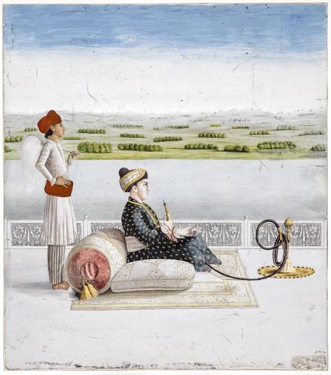 Portrait de John Wombell vêtu à l'indienne et fumant le hookah
