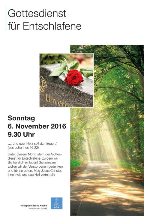 Plakat: Gottesdienst für Entschlafene