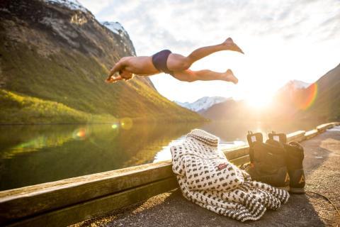 Прыжок во фьорд в Суннмерских Альпах