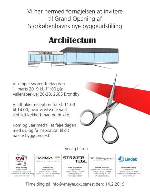 Indbydelse til Grand Opening af Storkøbenhavns nye byggeudstilling - Architectum