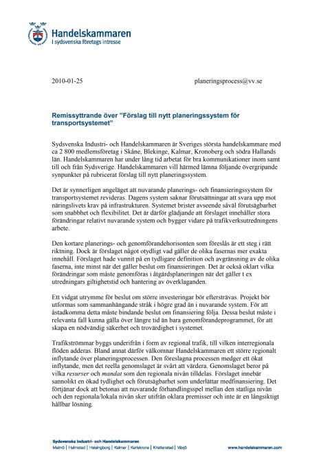Remissyttrande över Förslag till nytt planeringssystem för transportsystemet
