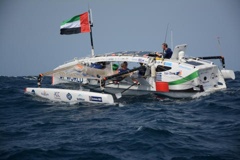 Hi-res image - Inmarsat - The four-man crew of Row4Ocean onboard 'Year of Zayed' during the Atlantic crossing