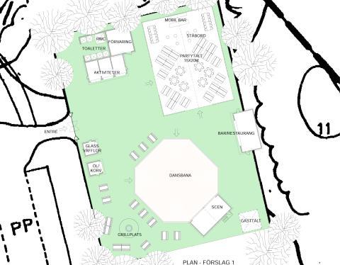 Fokpark, ritning på området