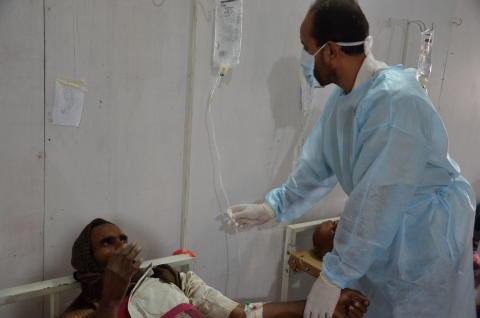 Läkare Utan Gränsers kolerabehandlingscenter i Khamer, Jemen