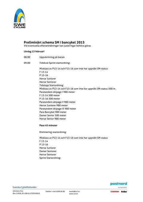 Preliminärt schema