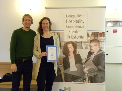 Mailis Pokk, winner of free AHLEI course in Haaga-Helia's stand at Tallinn FoodFair