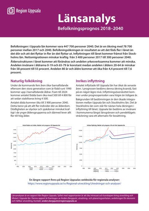 Länsanalys: Befolkningsprognos 2018 - 2040
