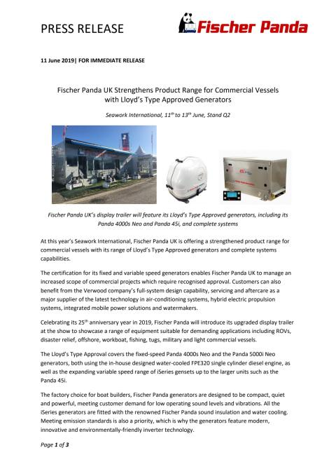 Fischer Panda UK Strengthens Product Range for Commercial Vessels with Lloyd's Type Approved Generators