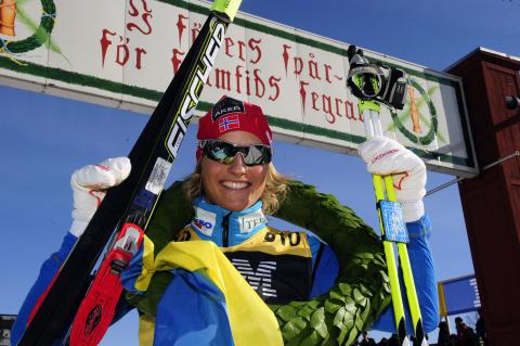 Vibeke Skofterud vann i dag som första norska dam någonsin Vasaloppets damklass.