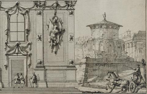 Detalj ur äldre grafik som ingår i utställningen ''Voluter, vedutor, väggfält. Arkitektens 1700-tal''.