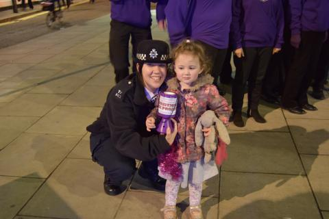 Organiser PC Rebecca Robinson with youngest fund raiser, Poppy aged 2.