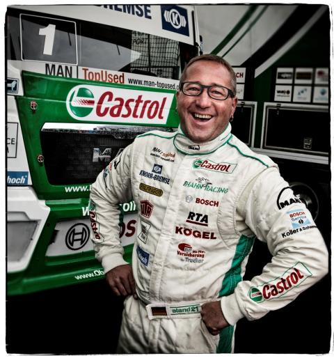 Hahn in fron of Castrol Truck