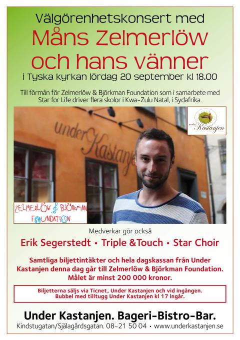 Välgörenhetskonsert med Måns Zelmerlöw och vänner i Tyska Kyrkan lördag 20 september.