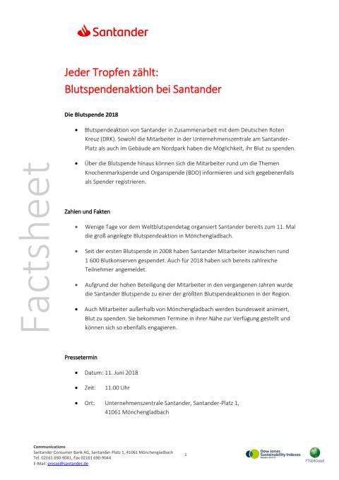 Factsheet Santander Blutspendeaktion 2018