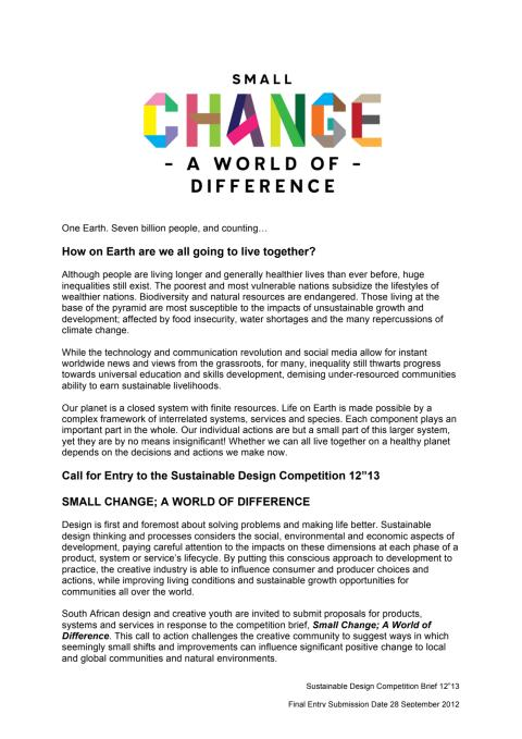 """Small Change; a World of Difference - Sustainable Design Competition Brief 12""""13"""
