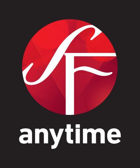 SF Anytimes logotyp för tryck - mörk bakgrund - vertikal version