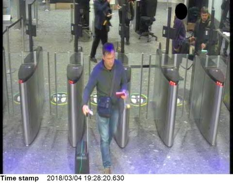 CCTV9 = image of both suspects at Heathrow airport security at 19:28hrs on 04 March 2018