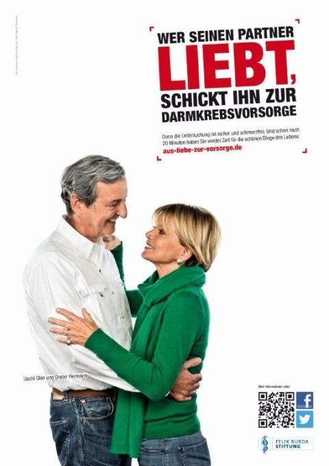 Darmkrebsmonat März 2013: Auch Männer gehen aus Liebe zur Vorsorge.                                                                                                    Uschi Glas und Dieter Hermann sind die neuen Testimonials für die Darmkrebsvorsorge