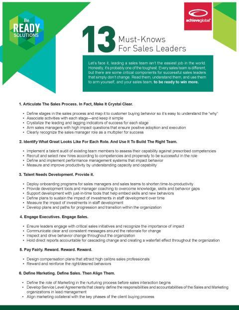 Rykande färsk rapport om 13 viktiga saker för säljledare