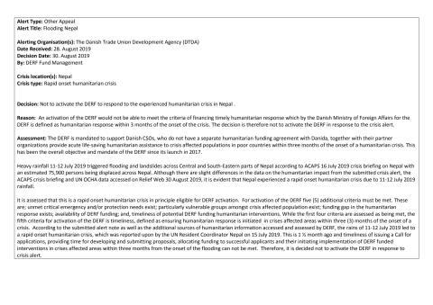 19-014-RO Flooding Nepal Alert Decision Note