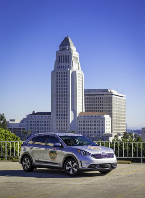 Kia Niro ved ankomst City Hall i New York i dag
