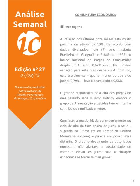 Análise Semanal IC - 07.08.2015