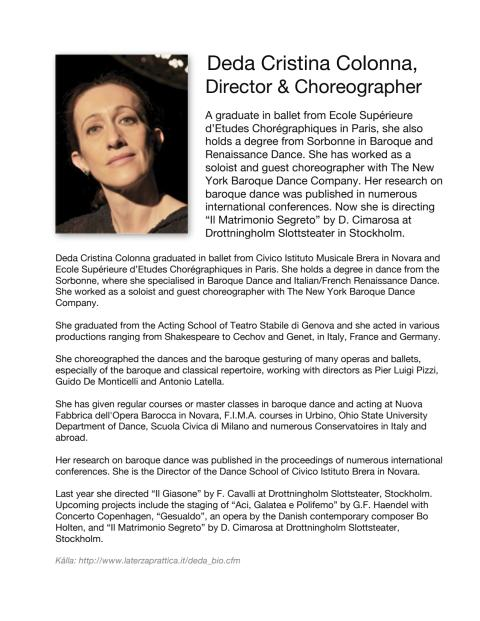BIO of Deda Cristina Colonna, Opera Director and Choreographer