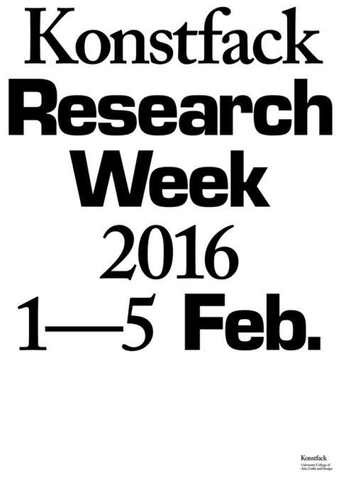 Konstfack Research Week 2016