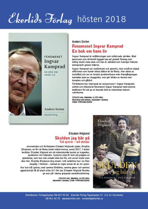 Biografi om Ingvar Kamprad och Elisabet Höglund om sin okända syster bland Ekerlids Förlags höstutgivning