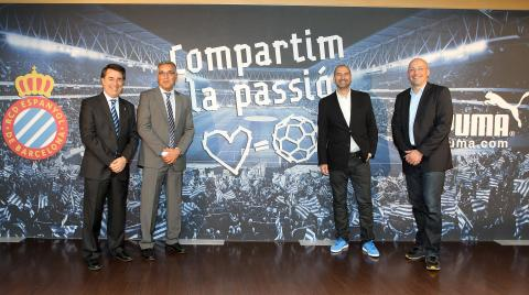 August Newton marketing vice-president and Joan Collet, CEO of RCD Espanyol with Javier Ortega and Christian Voigt from PUMA at the announcement of a new partnership between both organisations.