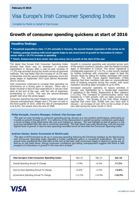 Visa Europe's Irish Consumer Spending Index - 8 February 2016